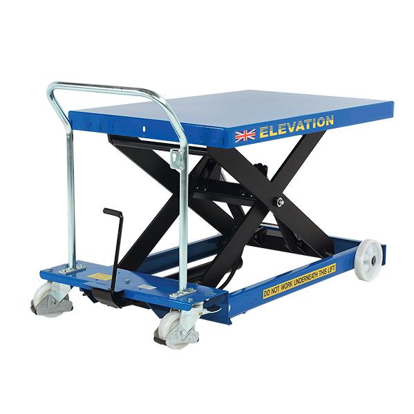 A small, blue hydraulic platform lift.